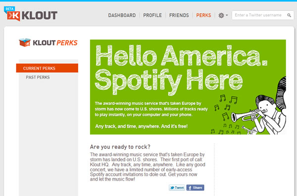 Spotify Partners With Klout To Invite Key Influencers | TechFruit