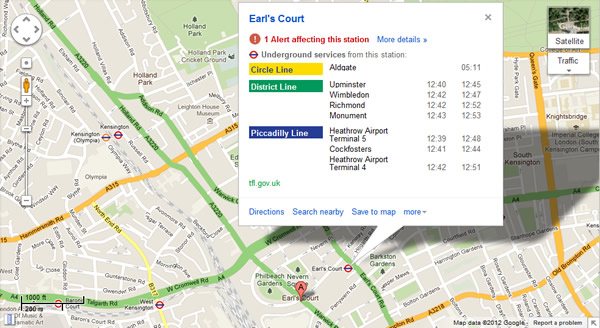 Google Maps Adds Real-time London Underground Updates
