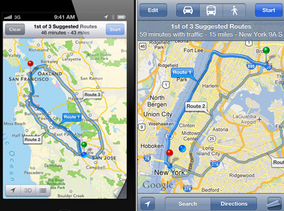 Apple Maps vs Google Maps - Routes