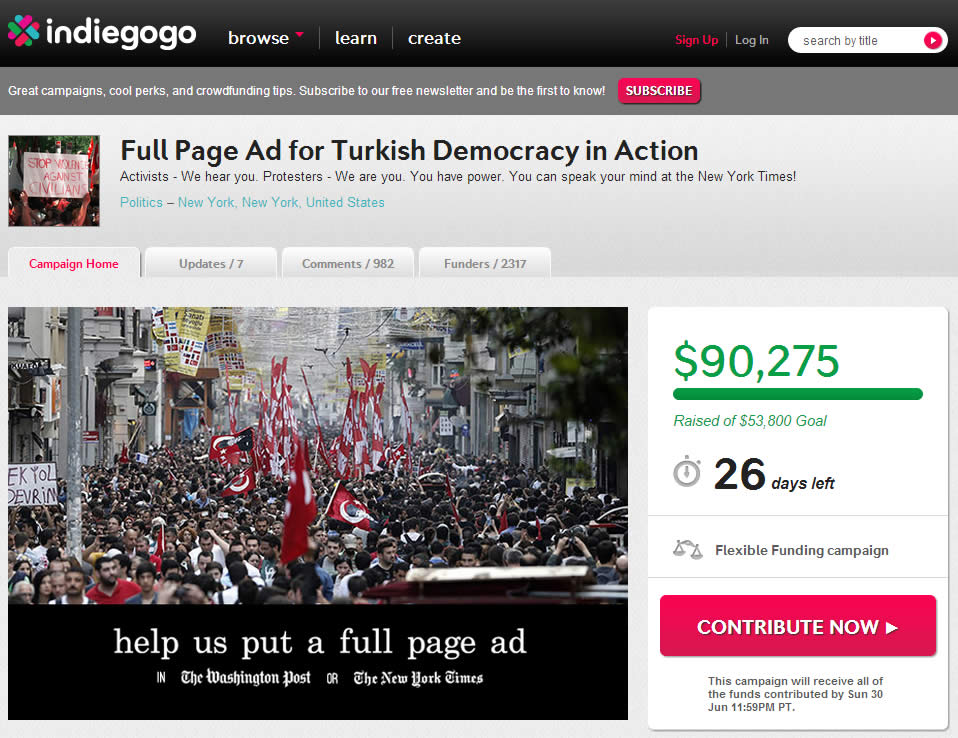 Indiegogo Turkish protest explanation