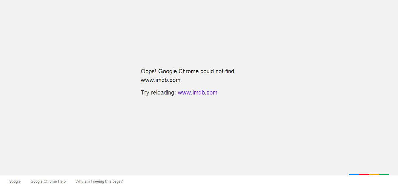Oops! Google Chrome could not find www.imdb.com
