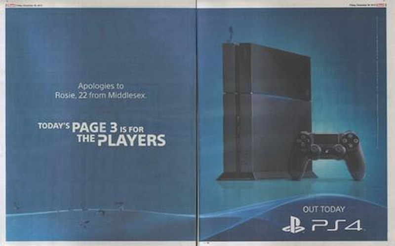 Sony PS4 advert taking over The Sun's infamous Page 3