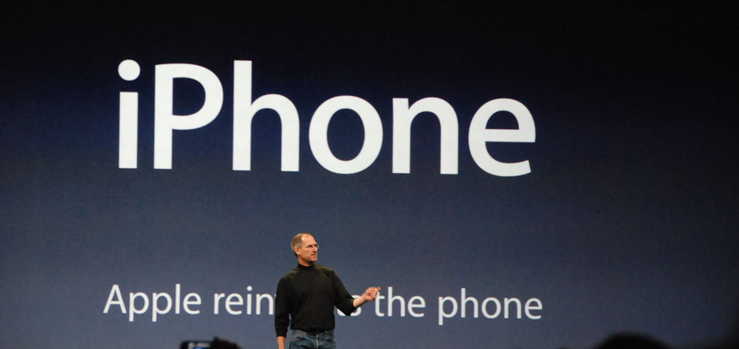 Steve Jobs launches the Apple iPhone, 2007
