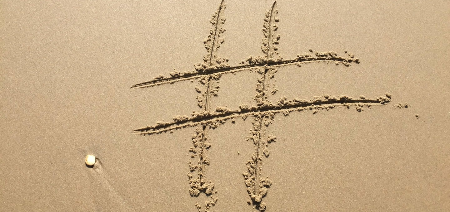 Hashtag on a beach
